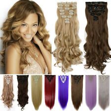 Real as remy human hair Long Clip in Hair Extensions Full Head Wavy Straight P15