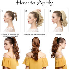 US Real Jaw Claw on Clip in Ponytail Extension Hair Piece Human Synthetic PI1