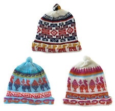 Wool Knit Pattern Warm Soft Beanie Ski Cap Kids Teens Women Winter Peruvian Hat