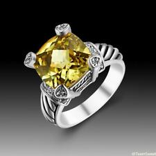 Luxury Wedding Party Jewelry Gift Citrine 925 Sterling Silver Ring size 789