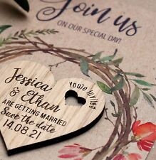 Wooden Save The Date Cards Wedding Magnets Personalised Wood Fridge Rustic Heart