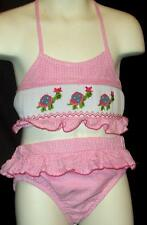 Zuccini 2 Piece Smocked Turtle Girls Size 24 M Months Top & Bloomers Set Pink Gi
