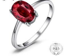 925 Sterling Silver Natural Oval 1.6ct Red Garnet Solitaire Ring Birthstone