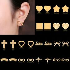 Women Stainless Steel Hollow Love Heart Infinite Bowknot Stud Earrings Jewelry