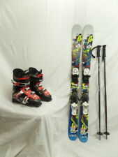 K2 Juvy Twin Tip Junior Downhill Ski 119 cm w/ Bindings, Poles, and Boots Used