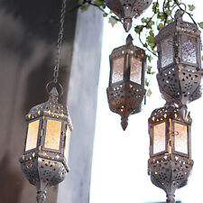 Moroccan Metal Hollow Hanging Candle Holder Decorative Lanterns With Iron Chain