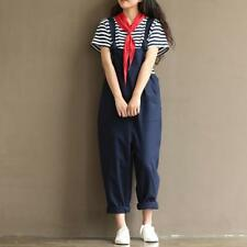 Overall Women Summer Cotton Jumpsuit Strap Casual Trousers Pants Vintage Rompers