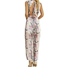Summer Jumpsuits Floral Printed Rompers Sleeveless Sexy Backless Halter Chiffon