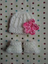 CROCHET BABY GIRL HAT & BOOTIES SET ~ PREEMIE NEWBORN 0 3 MONTHS -  WHITE Pink