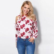 Womens Ladies Cut Sleeve Cold Off Shoulder Floral Button Shirt Summer Blouse Top