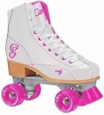 New! White & Pink Candi Girls Sabina High Top Quad Roller Skates by Roller Derby