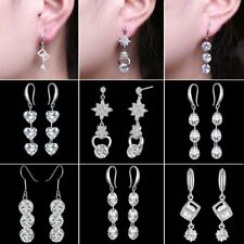 Women Fashion White Gold Plated CZ Drop Dangle Hook Earrings Wedding Jewelry New