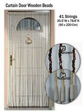 "Evideco Wooden Beaded Curtain Doorway 41 Strings Natural 78.8""H x 35.5""W"