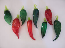 PICK YOUR PEPPER~CHOOSE RED GREEN OR BOTH HAND BLOWN ARTISAN GLASS CHILI PEPPERS