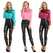 Vintage Style Women Soft Satin Button Down Solid Collar Shirt Long Sleeve Blouse