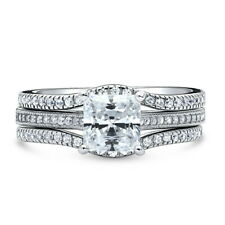Silver Princess Cubic Zirconia CZ Solitaire Engagement Ring Set 1.69 CT
