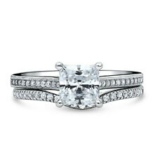 Silver Princess Cubic Zirconia CZ Solitaire Engagement Ring Set 1.555 CT