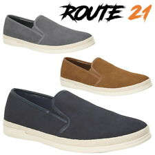 Route 21 'Asphalt' Men's Urban Casual Loafers Synth. Suede Twin Gusset Shoes