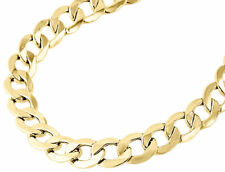 """Mens Real 10K Yellow Gold Hollow Cuban Curb Link Chain Necklace 9.50mm 22-30"""""""