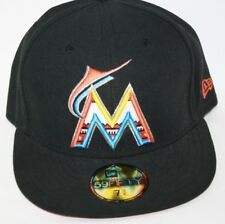 NEW Mens NEW ERA Miami Marlins Black MLB Logo 59FIFTY Baseball Fitted Hat Cap