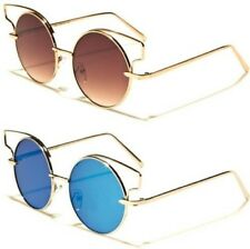 DESIGNER ROUND CAT EYE SUNGLASSES VINTAGE FLAT MIRROR METAL RETRO LADIES WOMENS
