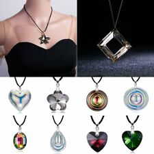 Fashion Crystal Teardrop Star Heart Round Pendant Necklace Sweater Chain Jewelry