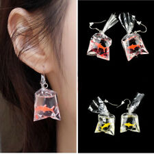 Novelty Women Girls Resin Goldfish Water Bag Shape Drop Alloy Hook Earrings Gift