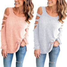 Casual Bandage Out Hollow T-Shirt Long Female Off Sleeve Basic Shoulder Women