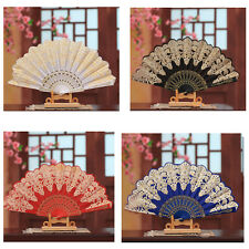 Wedding Party Lace Silk Folding Hand Held Flower Fan