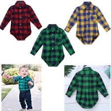 Infant Baby Boys Plaid Button-up Shirt Romper Toddler Jumpsuit Playsuit Clothes