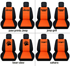 Fit JK wrangler  front car seat covers blk-orange w/ jeep grill, sahara...