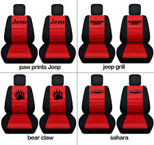 Fits JK wrangler  front car seat covers blk-red w/ jeep grill, sahara,claw