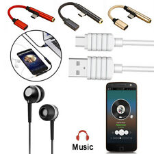 Type-C To 3.5mm Jack AUX Headphone Audio Cables USB C Data Sync Charging Cord R1