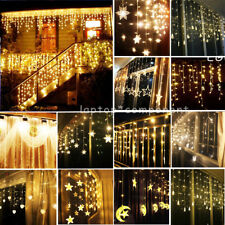 WARM WHITE LED Christmas Icicle Curtain Fairy String Lights Outdoor/Indoor Decor