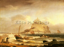 LUNY THOMAS FISHERMEN ROWING BEFORE ST MICHAELS MOUNT ARTIST PAINTING OIL CANVAS