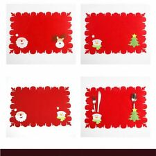 Red Christmas Placemats Kitchen Cloth Pad Tableware Mat Xmas Table Coaster Home