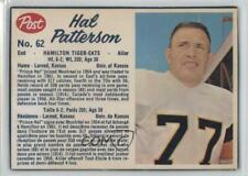 1962 Post Cereal CFL #62.2 Hal Patterson Hamilton Tiger-Cats (CFL) Football Card
