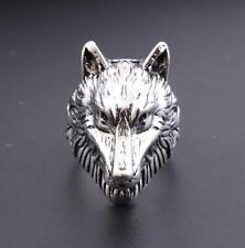 New Retro Punk Man's Stainless Steel Wolf Head Charm Rock Rings Jewelry Gifts