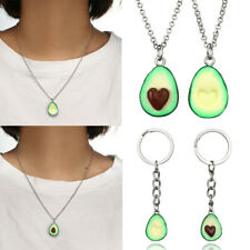 Cute Green Avocado Friendship Keychain or Necklace Set Heart Couple Gift