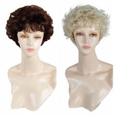 Women's Short Curly Wavy Blonde Brown Wig Heat Resistant Synthetic Hair Full Wig
