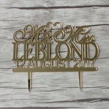 Buythrow® Mirror Gold Wedding Cake Topper Personalized Wedding Cake Topper