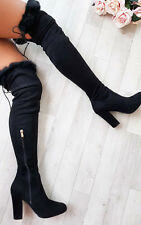 IKRUSH Womens Claudia Faux Suede Fur High Boots