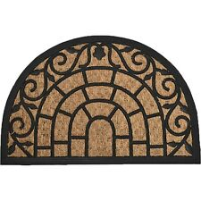 Evideco Sheltered Front Door Mat Natural Braided Coir Coco Rubber Rug