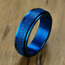 6MM Blue Men Wedding Ring Frosted Rotary Spinner Band Stainless Steel Size 7-12