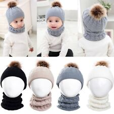 2PCS Baby Boys Girls Winter Warm Knit Hat Toddler Beanie Crochet Cap with Scarf