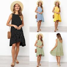 Ladies Polka Dots Summer Mini Dress Sleeveless Women's Ruffles Dresses Beachwear