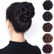 Womens Fashion Curly Hair Bun Clip Comb In Hair Extension Chignon Hairpiece