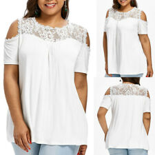 Fashion Womens Plus Size Cold Shoulder Strapless Lace Short Sleeve T-shirt Tops