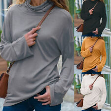Womens Casual Pullover Turtleneck Long Sleeve Autumn Slim Solid Blouse Tops BY