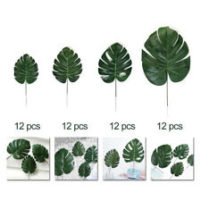 48PCS Faux Monstera Leaves Artificial Tropical Palm Leaves Hawaiian Large Decor